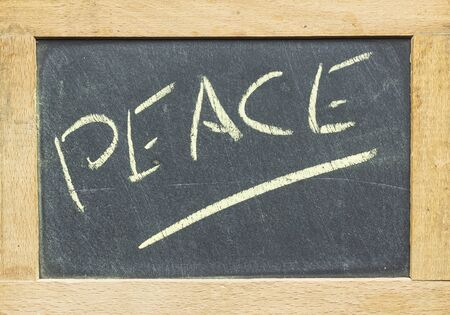 written blackboard with frame and peace