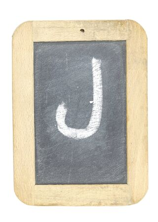 blackboard with frame with letter writing j Stock Photo