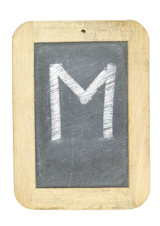 blackboard with frame with letter writing m Stock Photo