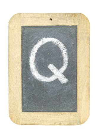 blackboard with frame with letter writing q Stock Photo