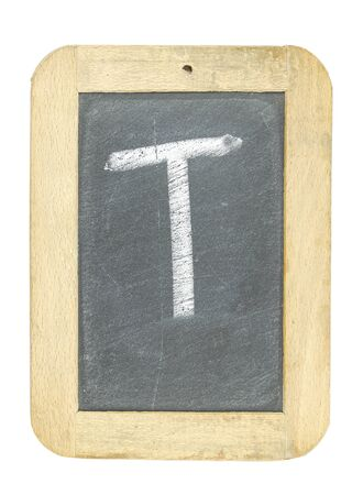 blackboard with frame with letter writing t