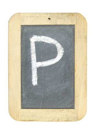 blackboard with frame with letter writing p