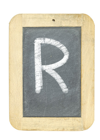 blackboard with frame with letter writing r
