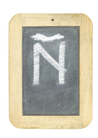 blackboard with frame with letter writing ñ