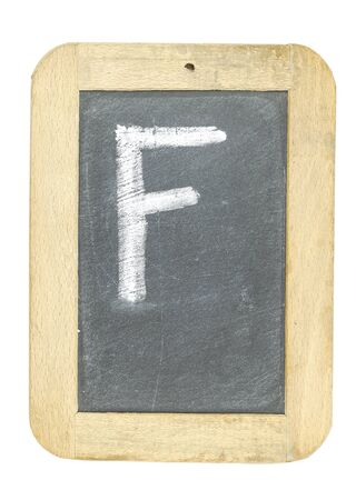 blackboard with frame with letter writing f Stock Photo