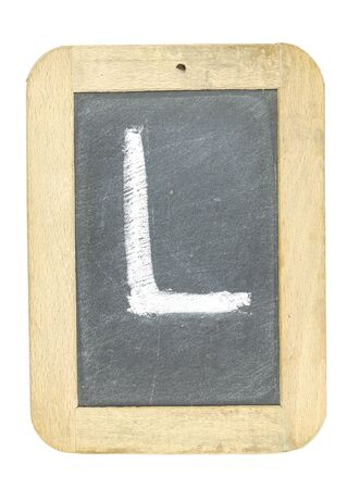 blackboard with frame with letter writing l