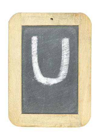 blackboard with frame with letter writing u