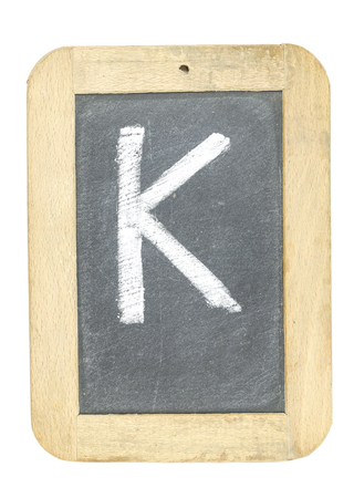 blackboard with frame with letter writing k