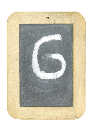 blackboard with frame with letter writing g