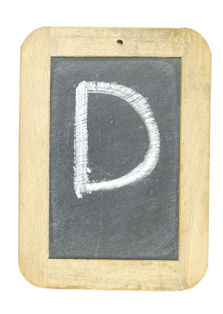 d: blackboard with frame with letter writing d Stock Photo