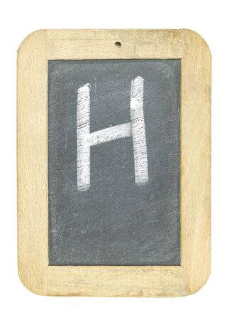 blackboard with frame with letter writing h Stock Photo