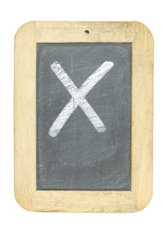 blackboard with frame with letter writing x