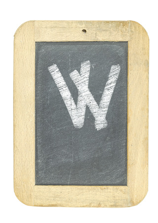 blackboard with frame with letter writing w