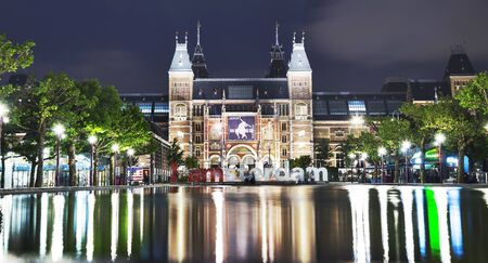AMSTERDAM - JUNE 2016: The Rijksmuseum Amsterdam museum area with the words IAMSTERDAM is shown in june 2016 in Amsterdam, The Netherlands. The museum first opened to the public in 1800. Editorial