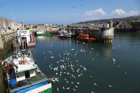 Fishing port of the town of llanes in asturias-spain Stock Photo