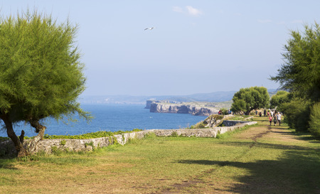 Maritime walk of grass in llanes - Asturias, Spain Stock Photo