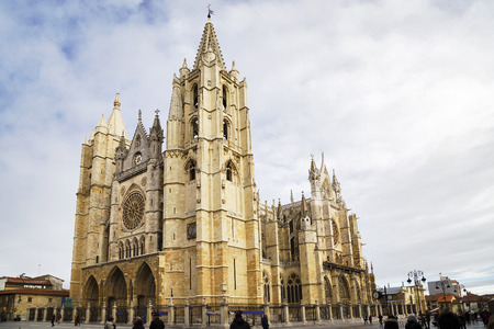 Gothic Cathedral of the city of Leon, Spain 에디토리얼