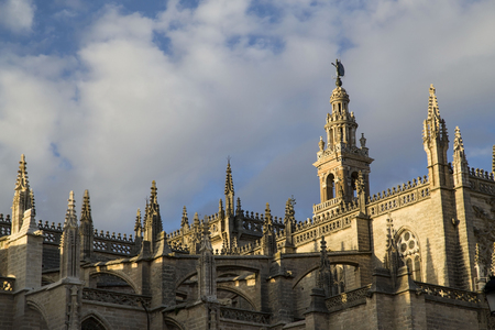 Seville cathedral Giralda tower of Seville Andalusia Spain Banco de Imagens
