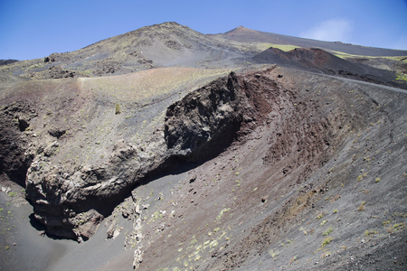 Etna national park panoramic view of volcanic landscape with crater, Catania, Sicily Stock Photo