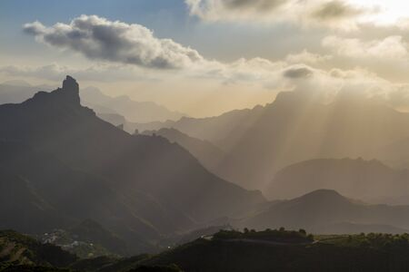 Roque Bentayga, layered landscape at sunset on the island of Gran Canaria, Canary Islands, Spain. Horizontal
