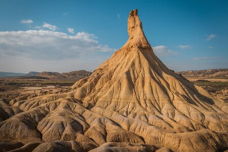 Characteristics forms created by the erosion of the water an wind in the Bardenas Reales desert, Navarra, Spain