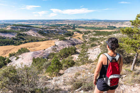 sporty girl looking at the horizon with a backpack, in Castile, Spain. 版權商用圖片
