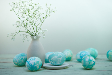 tiffany blue: Easter eggs composition in watercolor style table view