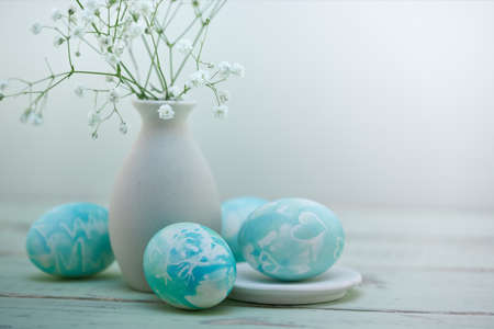tiffany blue: Easter eggs composition in watercolor soft style