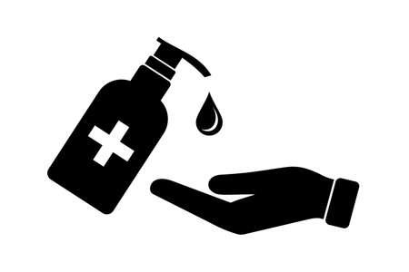 hand disinfection with antibacterial liquid icon Vektoros illusztráció