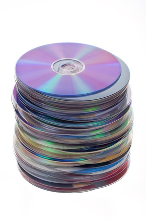dvds: Isolated pile of cds and dvds