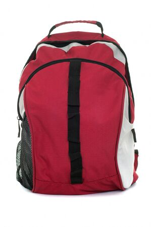 Style black with red colored backpack isolated over white background photo