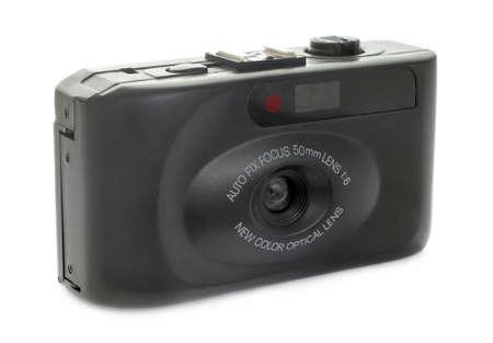 throwaway: Black Film Camera On White