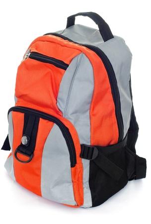 mochila escolar: Estilo negro con una mochila de color rojo aisladas sobre fondo blanco