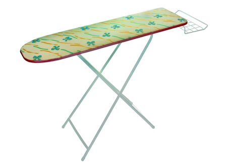 domesticity: Floral iron table isolated over white