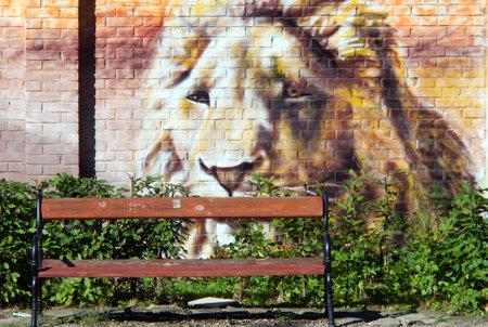 Graffiti  lion on wall