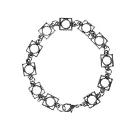 jewelle: Modern metal bracelet isolated on white
