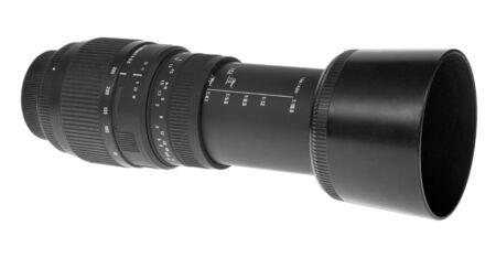 tele: Tele macro lens over white background.