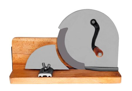 SLICER: A retro bread slicer isolated on white.