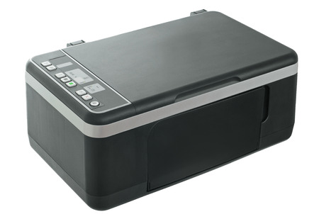 Printer on Isolated White Background