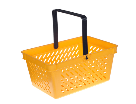 A empty shopping basket isolated on white background.
