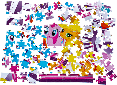 scatter: Disorderly color puzzle on the floor, messy room.