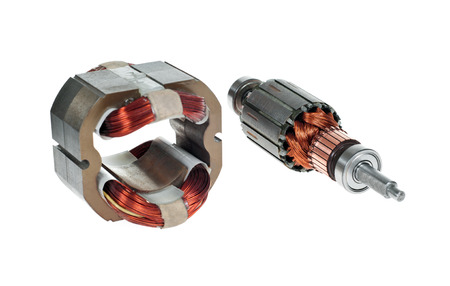 magnetismo: Electric motor rotor isolated white background Archivio Fotografico