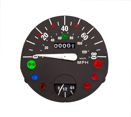 Speedometer in mph and kmh of classical vehicle Stock Photo