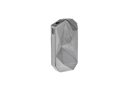 Isolated macro image of a silver lighter.