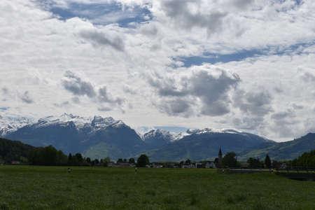 Alpine scenery and clouds in Liechtenstein 3.5.2020