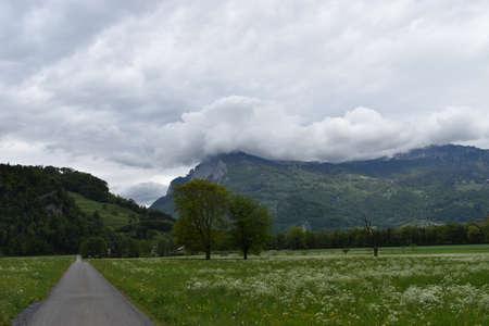 Landscape on an overcast day in Balzers in Liechtenstein 30.4.2020