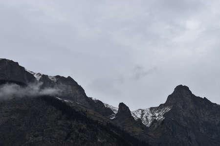 Overcast sky over the mountains in Switzerland 30.4.2020