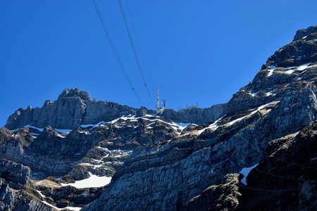 Peak of the mount Saentis in Schwaegalp in Switzerland 7.5.2020