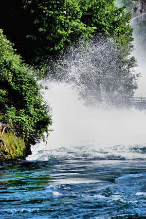 Rhine river splashes at the rhine falls in Switzerland 20.5.2020