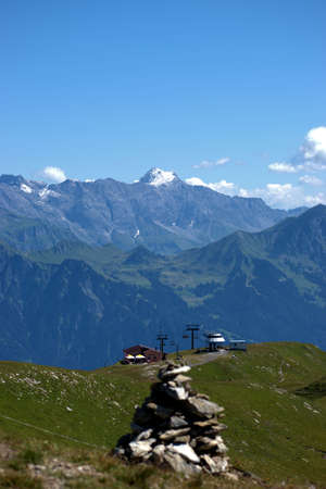 Peak of the mount Schesaplana in Austria seen from the mount Pizol in Switzerland 7.8.2020
